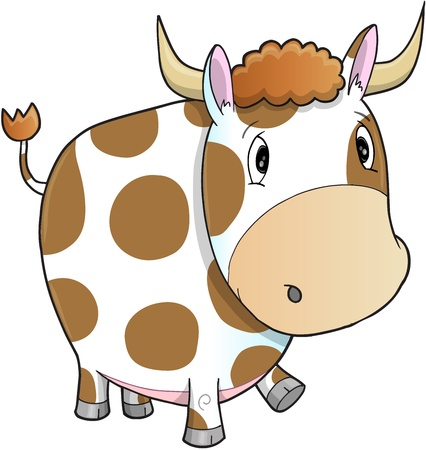 cow vector: Cute Farm Cow Vector Illustration