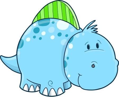 Blue Cute Dinosaur Vector Illustration Art Vector