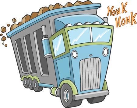 hauling: Big Cute Truck Vector Illustration Art