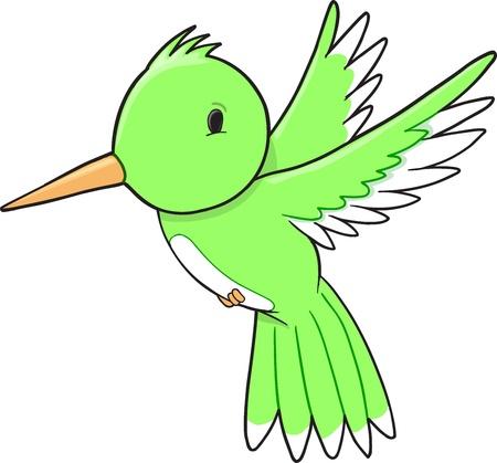 Cute Humming Bird Vector Illustration Art