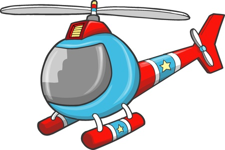 Police Rescue Helicopter Vector Illustration Art