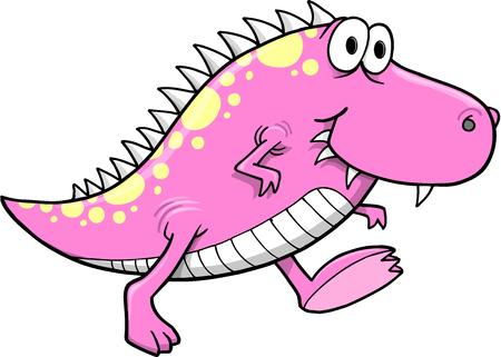 Cute Pink Monster Dinosaur Vector Illustration Art