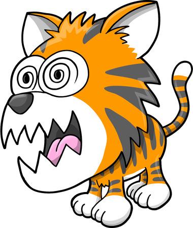 Crazy Insane Tiger Vector Illustration Art