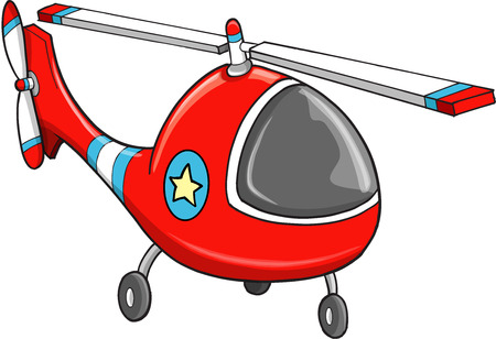 Cute Rescue Police Helicopter Vector Illustration Art