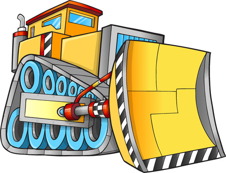 Cute Construction Bulldozer Vector Illustration Art 일러스트