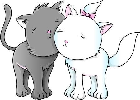 pet cat: Cute Cats Kittens Vector Illustration Illustration