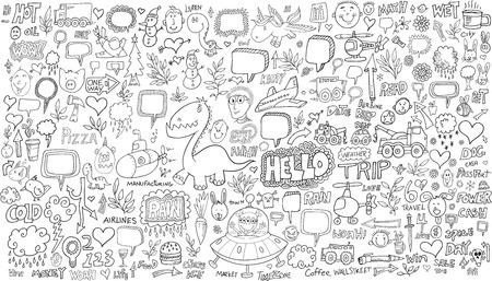 Doodle Sketch Vector Illustration Set Vector
