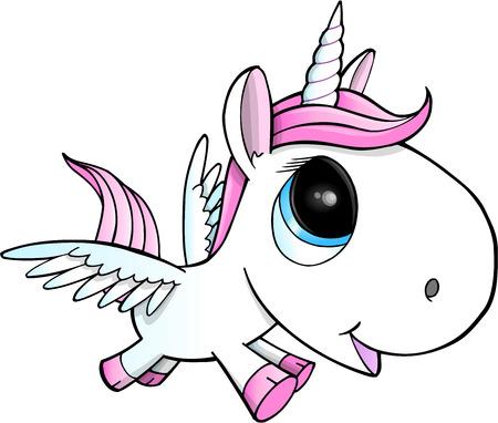 Cute Unicorn Pegasus Vector Illustration Art  イラスト・ベクター素材