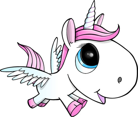 Cute Unicorn Pegasus Vector Illustration Art Vettoriali