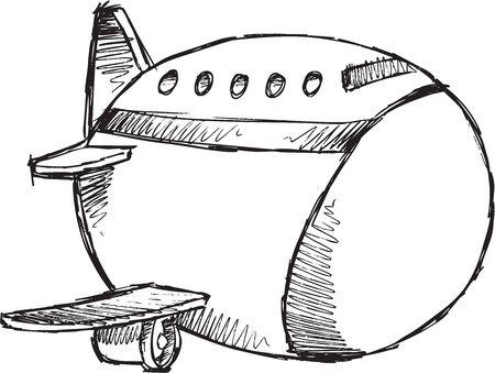 jumbo: Sketch Doodle Drawing Jumbo Jet Vector Art