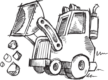 loader: Sketch Doodle Drawing Front Loader Vector Art