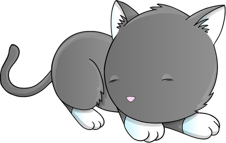cat sleeping: Sleeping Cat Kitten Vector Illustration Art Illustration