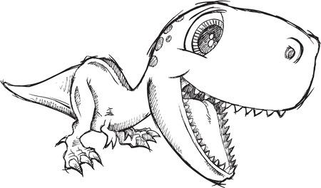 Sketch Doodle Cute Tyrannosaurus Rex Dinosaur Vector Vector