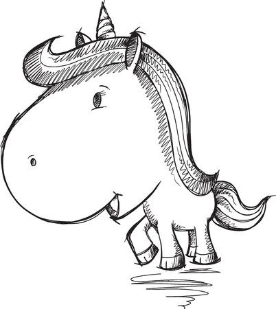Sketch Doodle Unicorn Art Vector