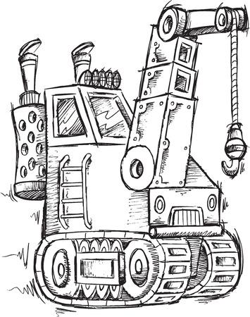 Crane Doodle Sketch Vector Illustration Art Vector