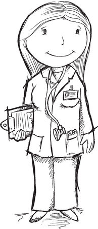 Cute Sketch Doctor Vector Illustration Art Vector