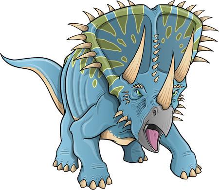 jurassic: Triceratops Dinosaur Vector Illustration