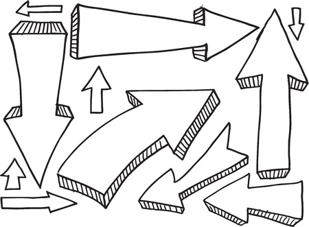 Doodle Sketch Arrow Design Vector Set Illusztráció