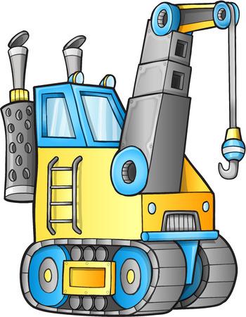 camion grua: Ilustración Crane lindo Construcción Camión Vector Vectores