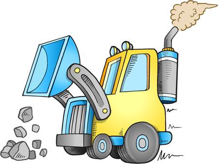 Cute Construction Front Loader Vector Illustration Art