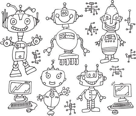 electronic circuit: Robot Computer Technology Doodles Vector Illustration Art Set Illustration