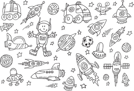 Cute Space Sketch Doodle Vector Set Çizim