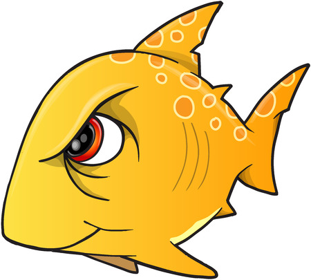 fishes: Mean Angry Shark Vector Illustration Art