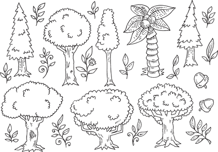 softwood: Tree Forest Doodles Vector Illustration Art Set Illustration