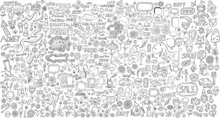 Mega Doodle Design Elements Vector Set Vector