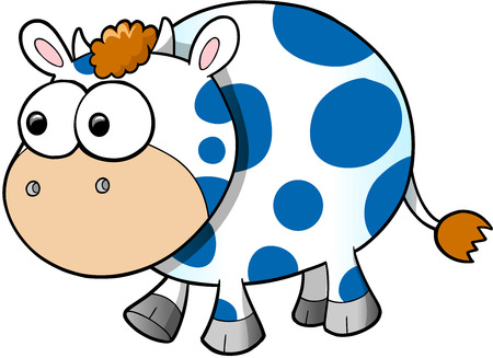 cow vector: Happy Cute Cow Vector Illustration Art Illustration