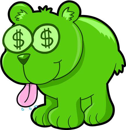 Happy Money Bear Vector Illustration Art