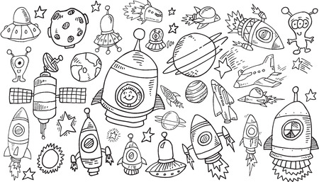 outer space: Outer Space Sketch Doodle