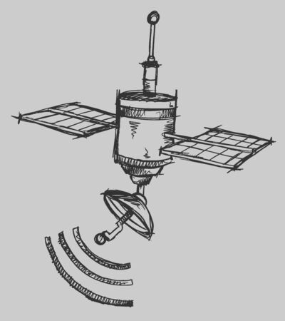 Satellite Sketch Illustration Art