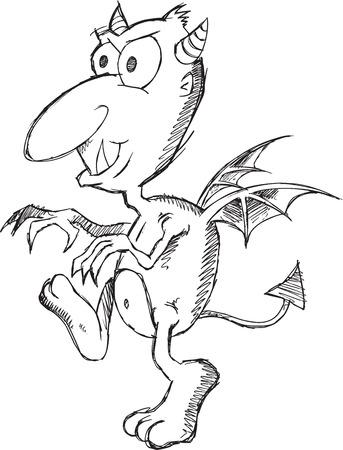 Doodle Sketch Devil Vector Illustration Art Ilustrace
