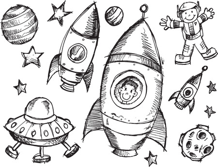 outer space: Outer Space Sketch Doodle Set