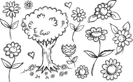 sketch: Nature Garden Sketch Doodle Set