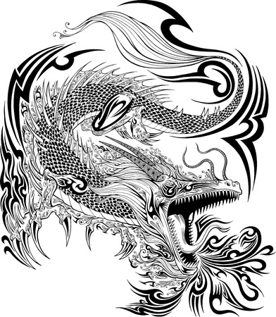 tatouage dragon: Dragon Doodle Sketch Vector Tattoo Illustration