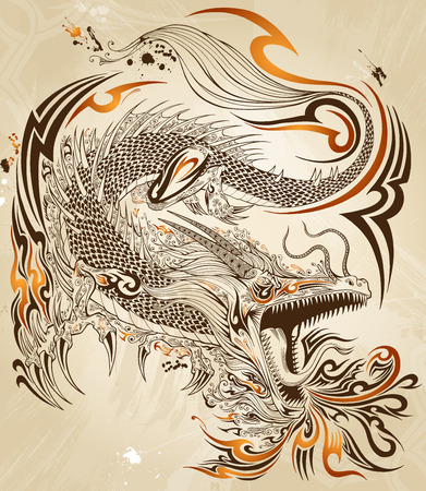 patterns japan: Dragon Doodle Sketch Tattoo Vector Illustration