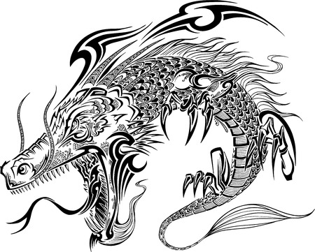 dragon tattoo: Dragon Doodle Sketch Vector Tattoo Illustration