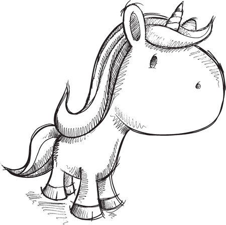 Cute Sketch Unicorn Vector Illustration Vector