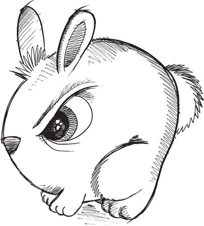 tough: Tough Bunny Rabbit Sketch Doodle Vector Art Illustration