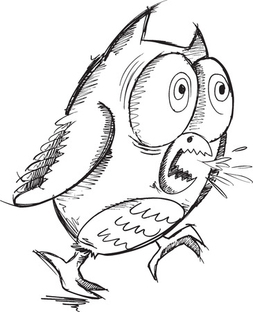 insane: Insane Crazy Drawing Sketch Owl Vector