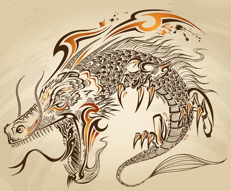 용 낙서 스케치 문신 일러스트