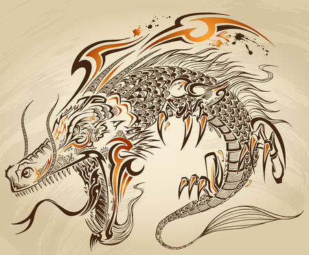 tatouage dragon: Dragon Doodle Sketch Tattoo