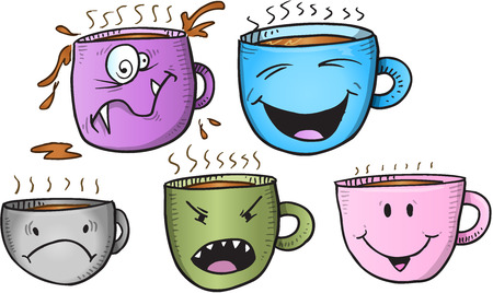Wacky Coffee Cup Set Illustration
