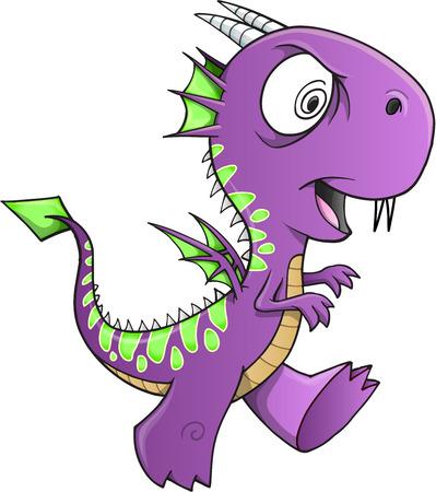 insane: Insane Purple Dragon Vector Illustration Art