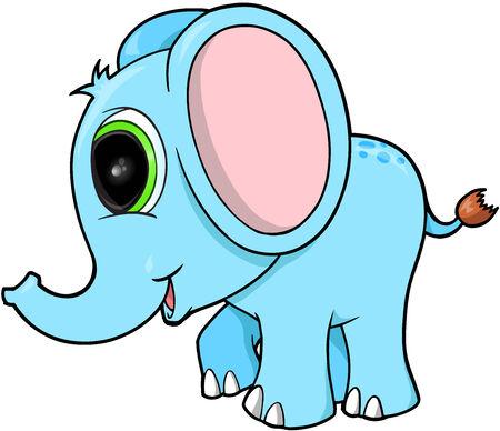 Cute Blue Elephant Vector Illustration Art