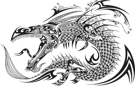 etnia: Dragón del bosquejo del Doodle del tatuaje Vector