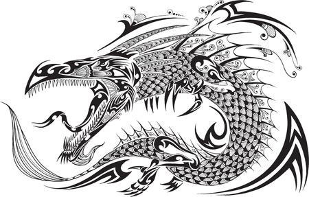 tatouage dragon: Dragon Doodle Sketch Vector Tattoo Illustration