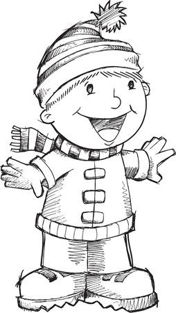 Doodle Christmas Singing Boy Vector Illustration Art